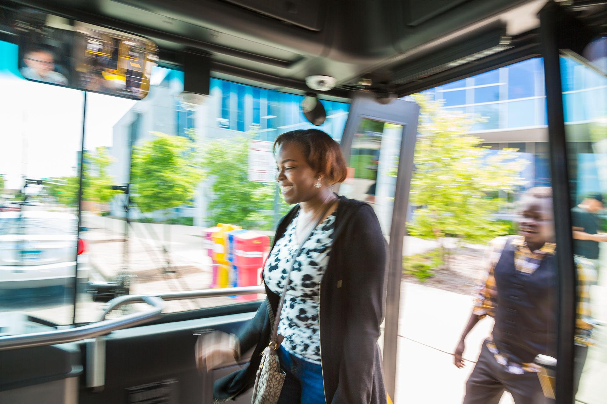 Passengers Boarding Metro Bus