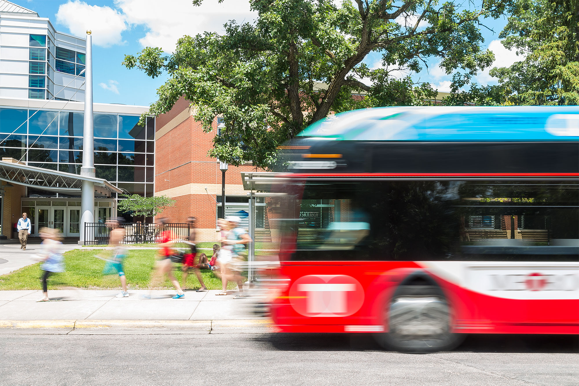 IMAGE: Bus Arriving to St. Cloud State University (SCSU)