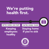 American Public Transportation Association ad reads: We're putting health first. We're doing our part, keeping employees healthy. You're doing yours, staying home if you're sick.